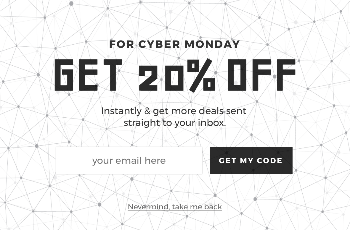 cyber monday pop up