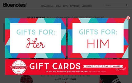 Gifts for Him and Her pop-up