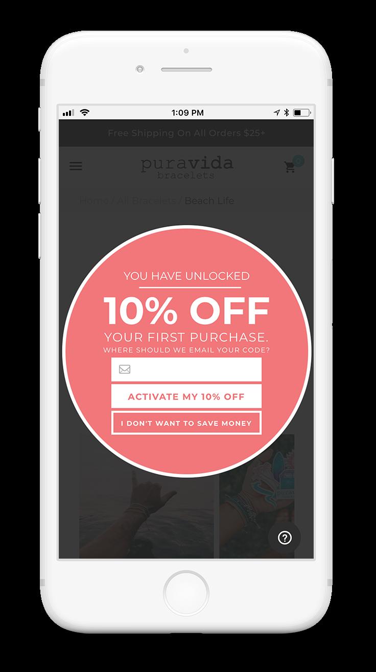 Pura Vida - Mobile promo example