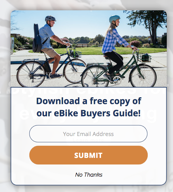 example of pop-up from Blix Bike site