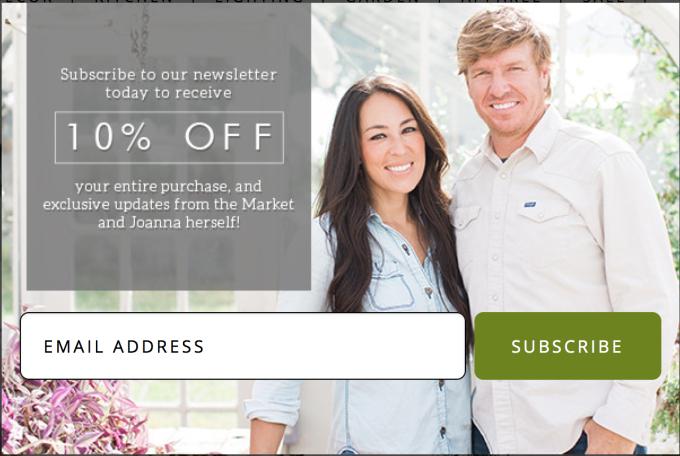 Screenshot of example e-mail capture