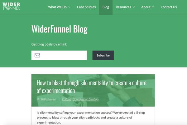 screen cap of wilderfunnel blog