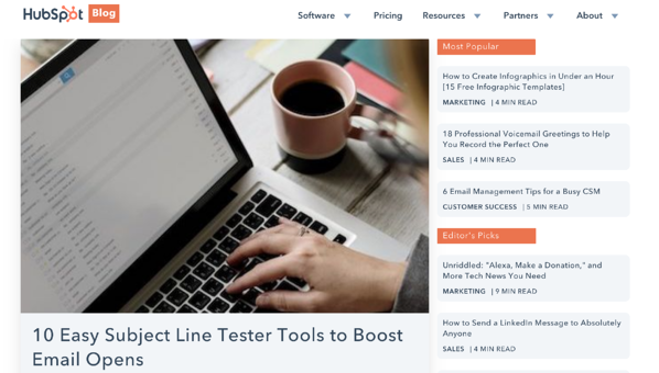 screen cap of hubspot blog