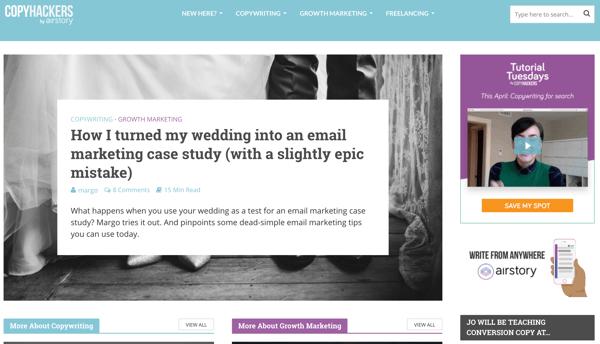 screen cap of copy hackers blog