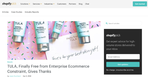 screen cap of shopify plus blog