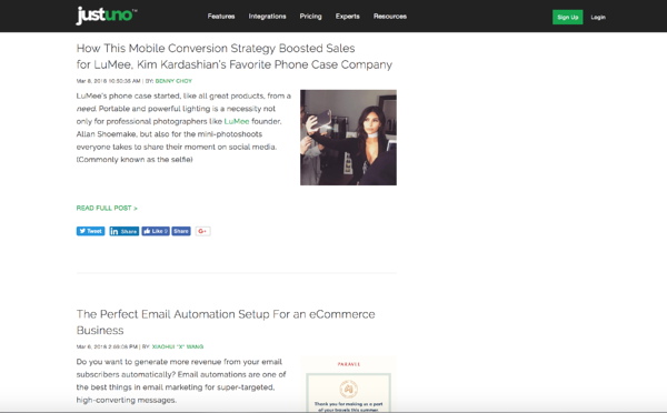 screen cap of justuno blog