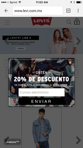 levis geo targeting mobile pop up