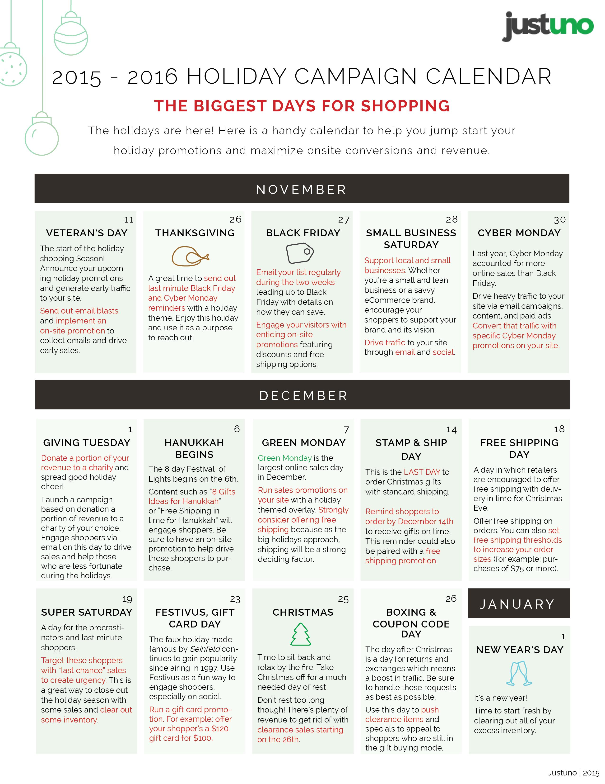 2015 Marketing Calendar for the Holidays