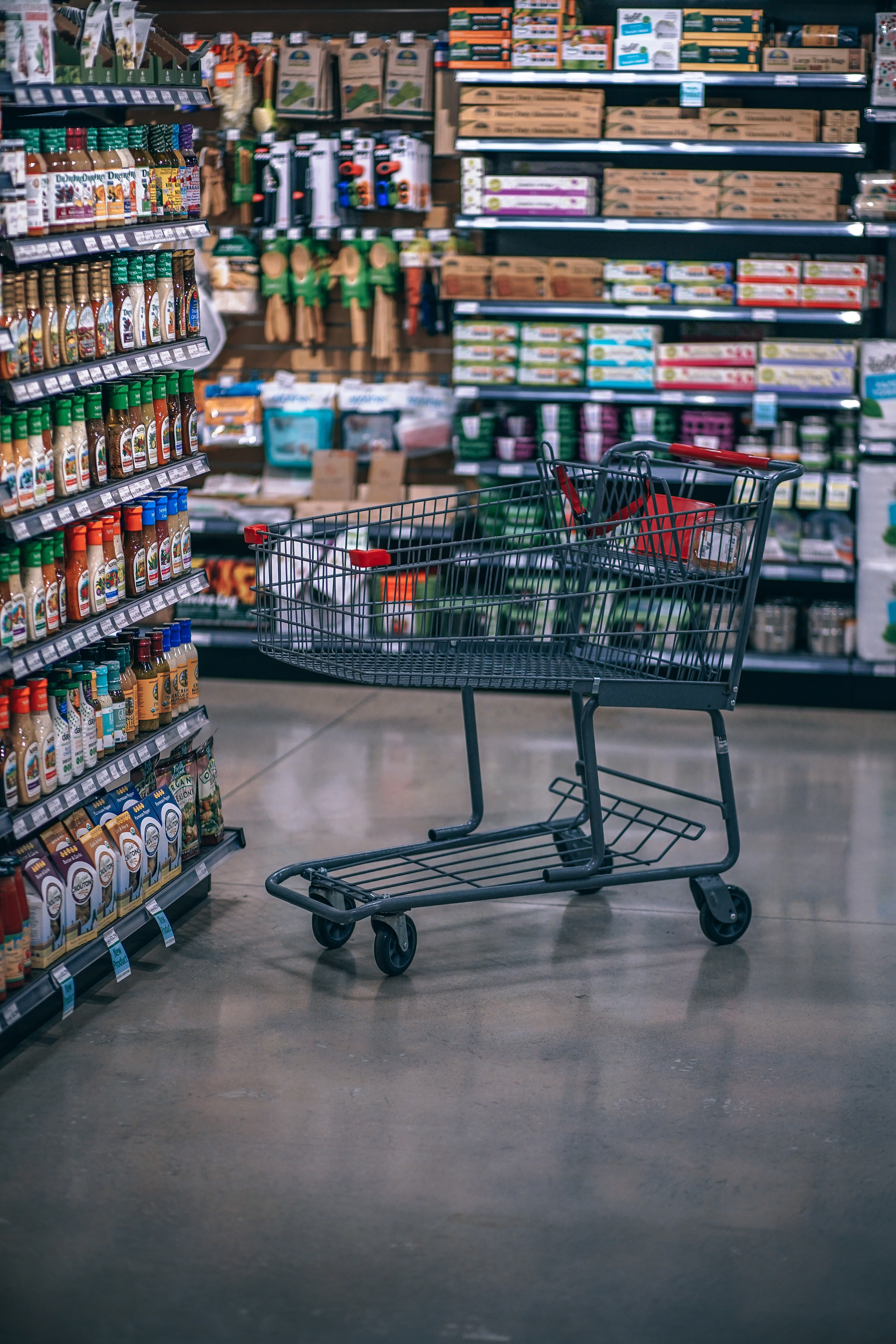 abandoned cart in a grocery store